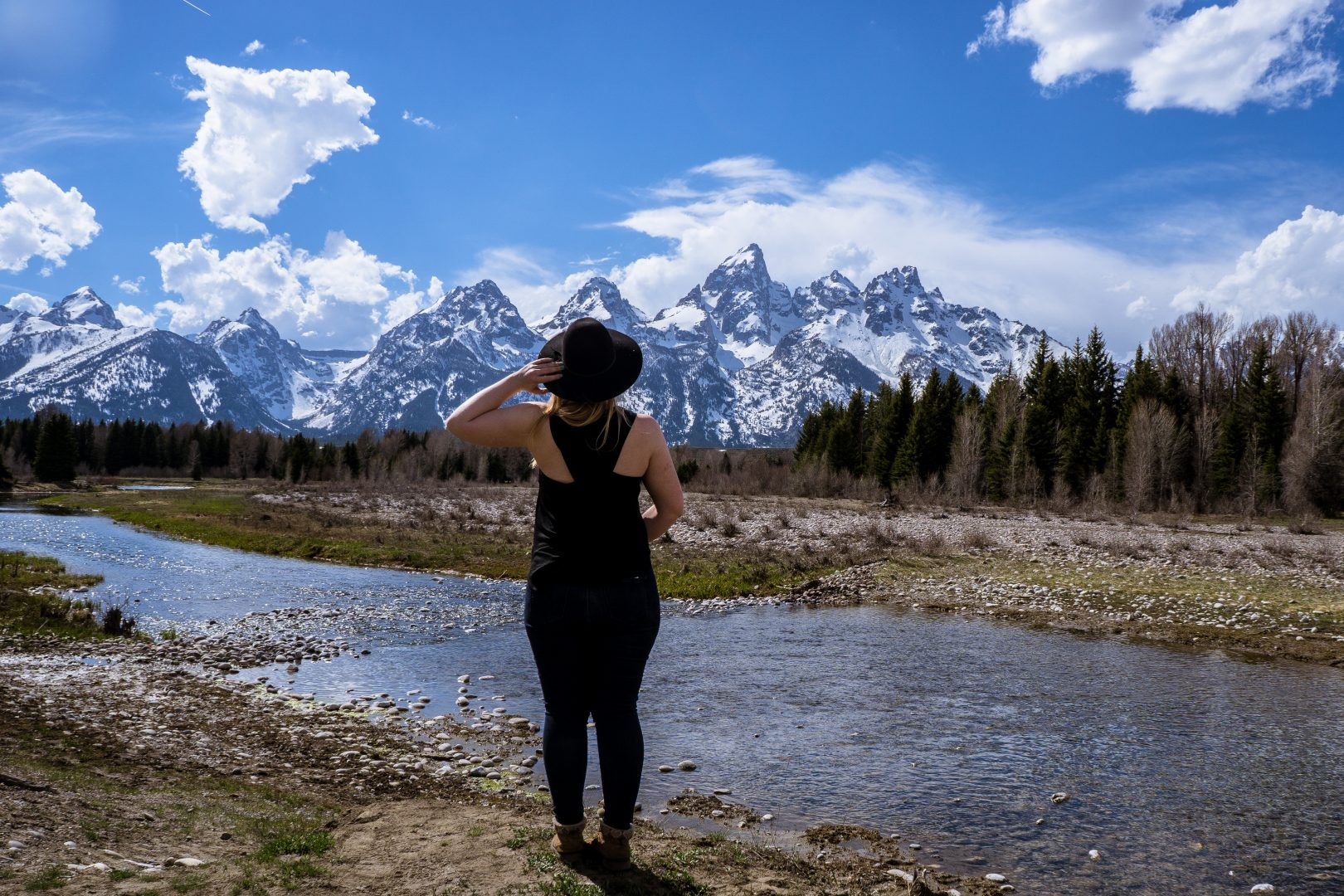 Woman outside in Wyoming Summer